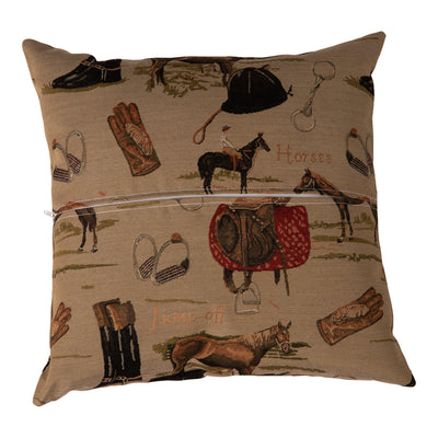 Huntley Equestrian English Tapestry Decorative Pillow