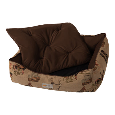 Huntley Pet Western Equestrian Tapestry Design Rectangle Bolster Washable Soft Pet Bed