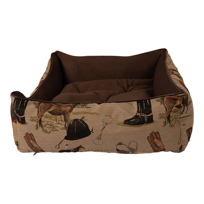 Huntley Pet English Equestrian Tapestry Design Rectangle Bolster Washable Soft Pet Beds