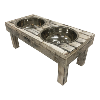 Huntley Pet Berjen Table Elevated Double Bowl Pet Feeder, White Wash