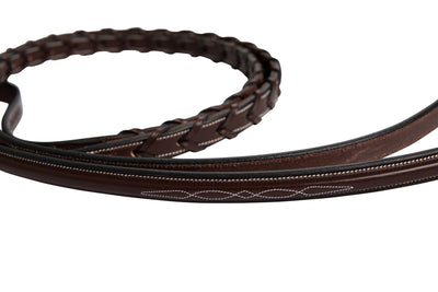 Huntley Equestrian Fancy Stitched Rubber Lined Laced Reins, Size Full