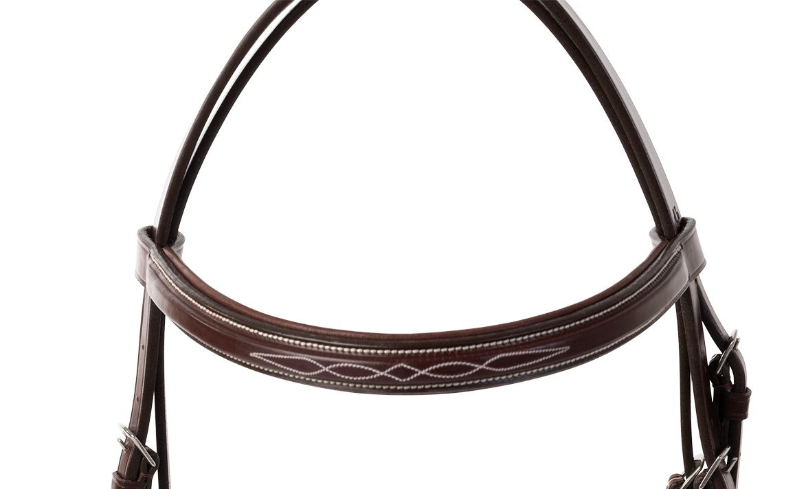 Huntley Equestrian Fancy Stitched Square Raised Padded Brow Band