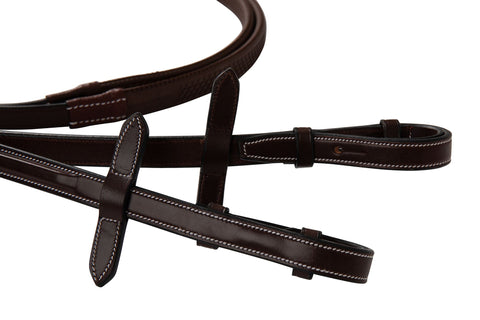 "Huntley Equestrian Fancy Stitched Rubber Reins, 5/8"" Inch Width - Huntley Equestrian"