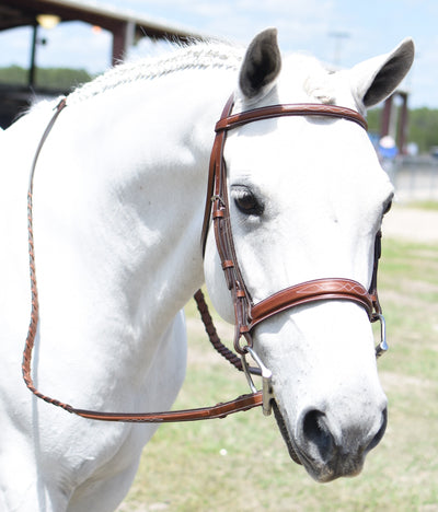 Huntley Equestrian Sedgwick Fancy Stitched Square Raised Hunter Horse Bridle with Reins SPORTING_GOODS Huntley Equestrian Medium Pony Conker Sedgwick Leather