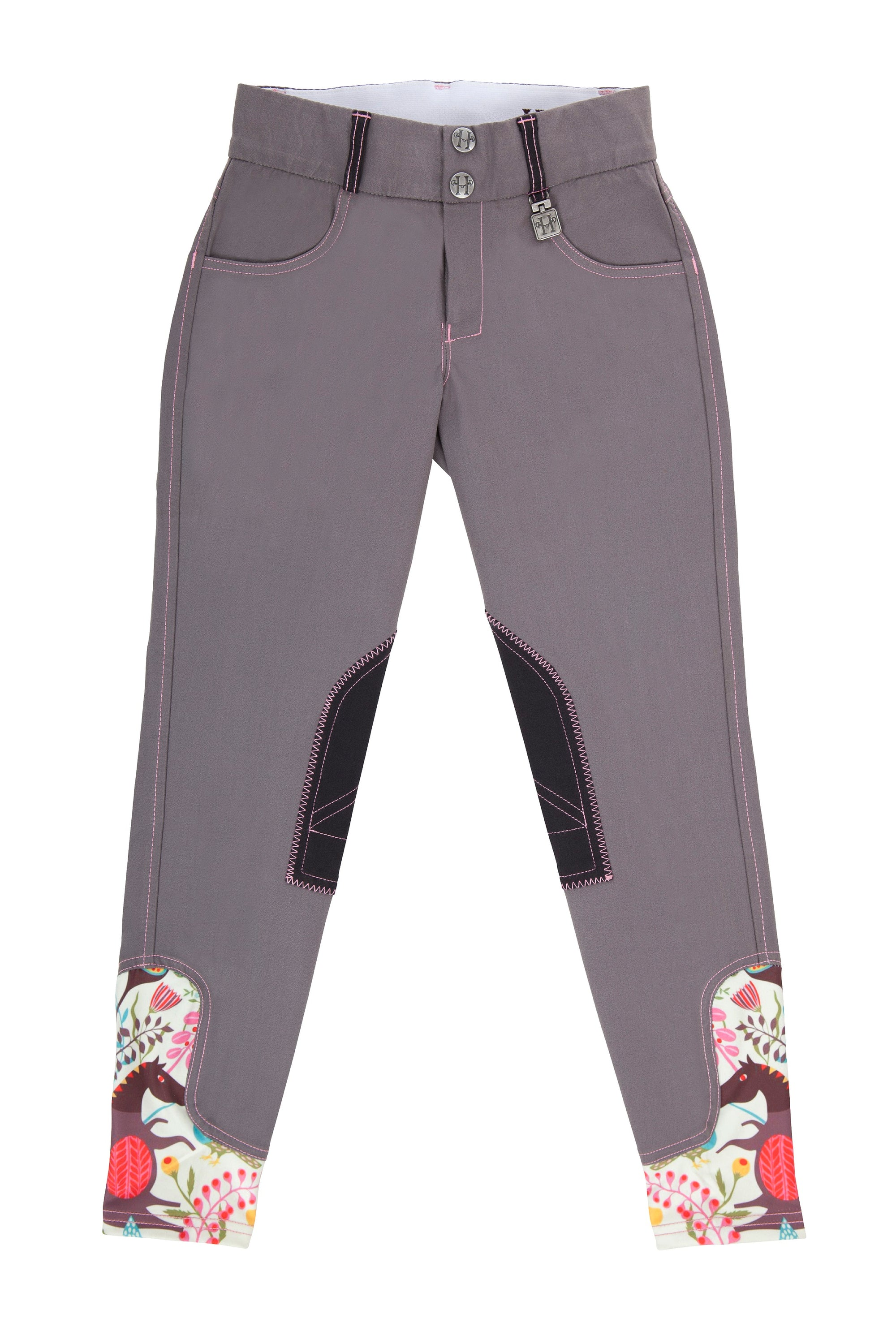 Daisy Clipper Children's Grey with Pink Pony Breech - Huntley Equestrian