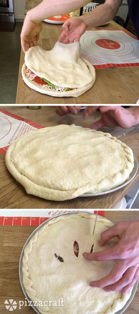 Sealing dough on stuffed pizza crust