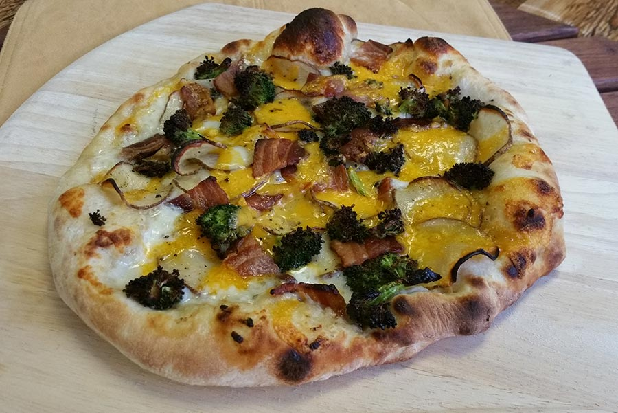 Broccoli, Cheddar, Bacon & Potato Pizza