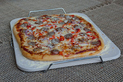 Pizza Cooking on the Rectangular Pizza Stone with Wire Frame