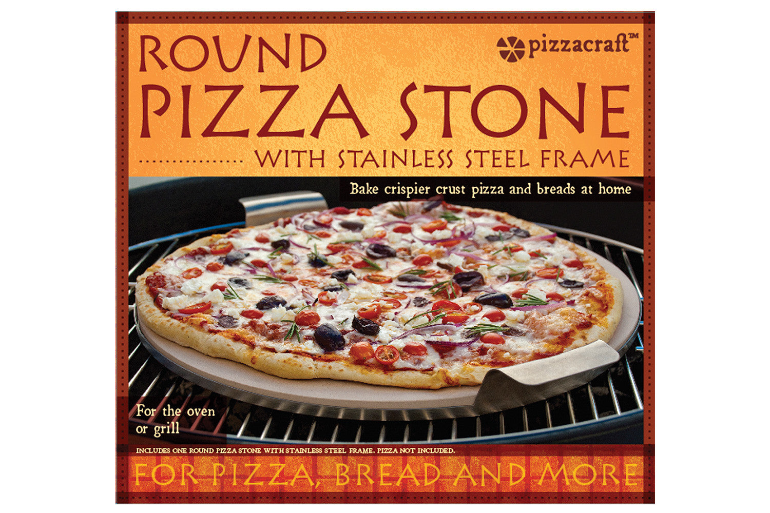 15 Quot Round Ceramic Pizza Stone With Wire Frame Pizzacraft