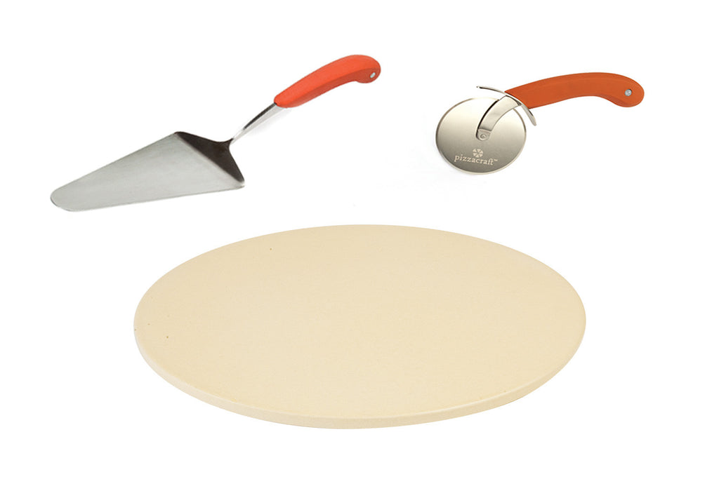 3 PC Pizza Stone, Slicer & Server Set