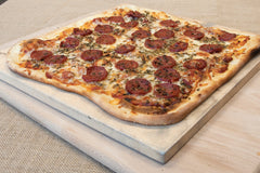 "Pizza Cooking on a 15"" Square Cordierite Pizza Stone"