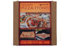"Packaging for the Set of Four 7.5"" Square Mini Cordierite Pizza Stone Tiles"