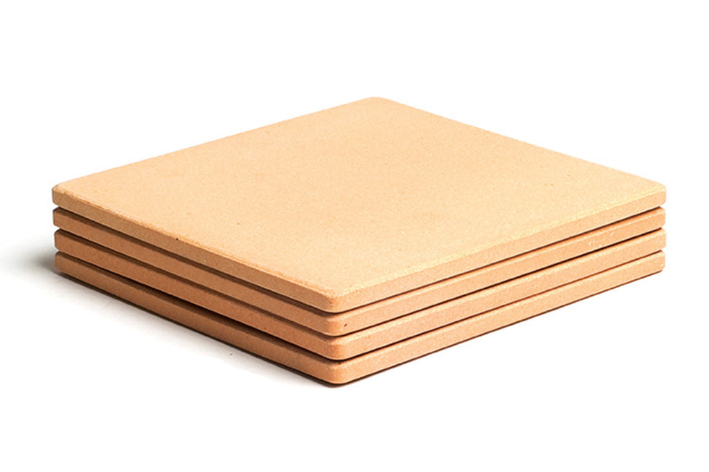 "Set of Four 7.5"" Square Mini Cordierite Pizza Stone Tiles"