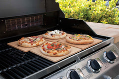 "Grilling 4 Pizzas on the Set of Four 7.5"" Square Mini Cordierite Pizza Stone Tiles"