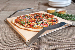 "Serving Pizza on the 15"" Square Cordierite Pizza Stone with Solid Frame"