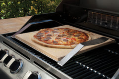 "Grilling Pizza on the 15"" Square Cordierite Pizza Stone with Solid Frame"