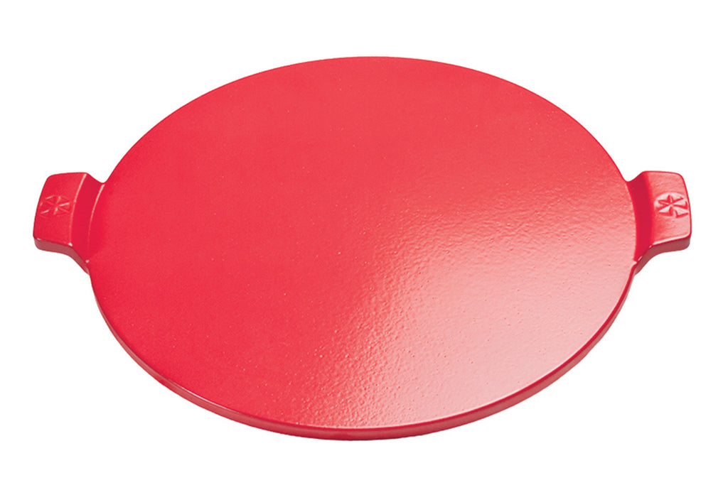 "14.5"" Red, Round Glazed Cordierite Pizza Stone with Handles"