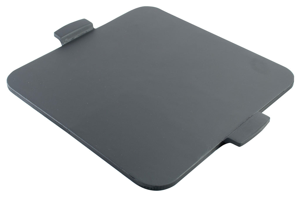 "14.5"" Black, Square Glazed Cordierite Pizza Stone with Handles"