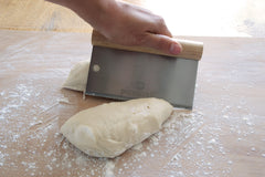 Cutting Dough with the Stainless Steel Dough Scraper with Wood Handle