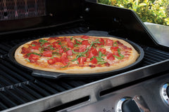 "Grilling Pizza on a 14"" Round Cast Iron Pizza Pan with Handles"