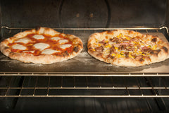 "2 Pizzas Cooking on a 22"" Rectangular Pizza Steel"