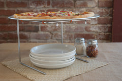 "Pizza Stand and 16"" Aluminum Pizza Pan with Condiments and Dishes"