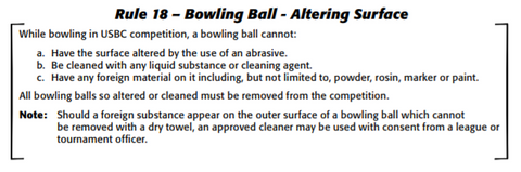 Change to USBC Rule 18. Approved cleaners are only allowed with the permission of a league official as of Aug 1 2019