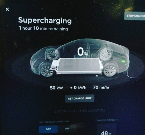 Tesla in car charging screen