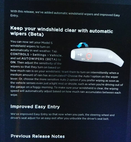 Tesla software update explanation screen in car