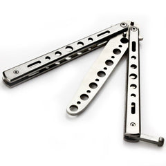 Silver Metal Practice Balisong Butterfly Knife Trainer