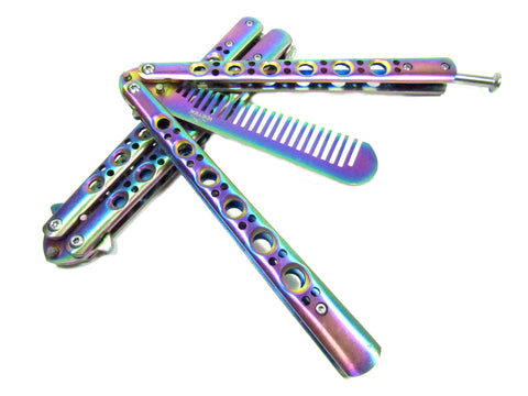 Multicolored Practice Balisong Butterfly Comb Trainer