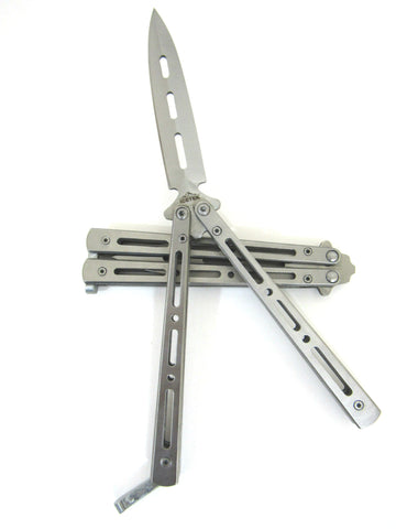 Deluxe Silver Metal Practice Balisong Butterfly Knife