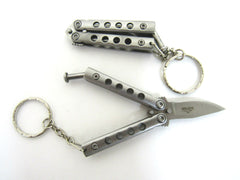Silver Mini Balisong Keychain knife