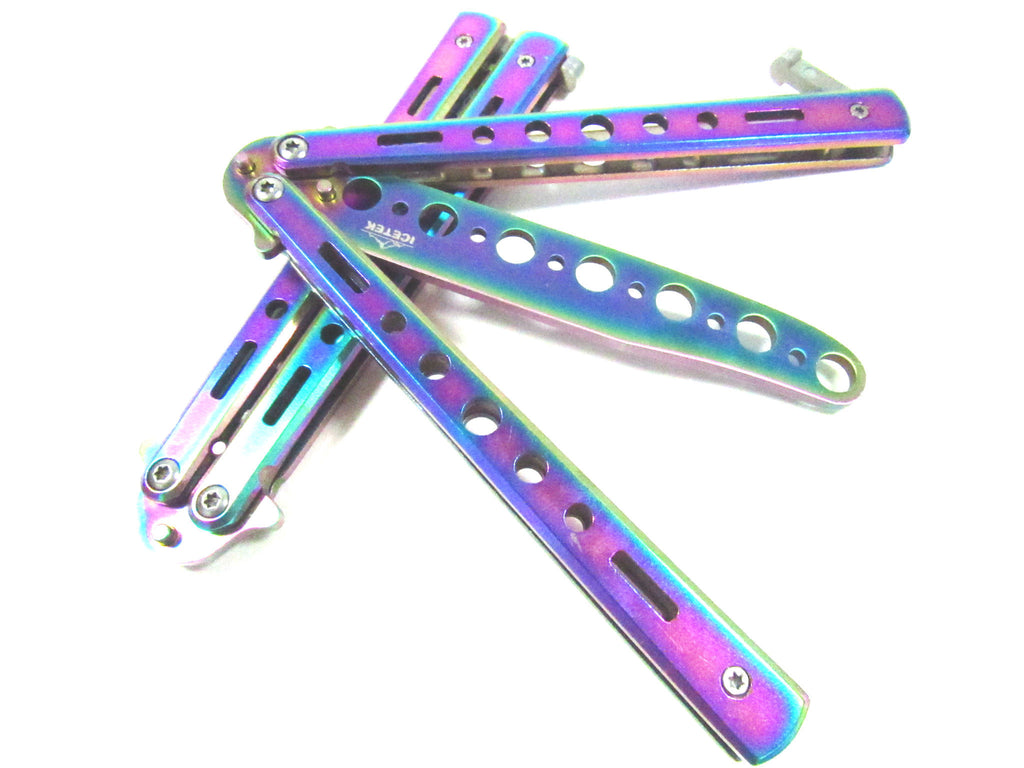 "Multi-Colored 8.5"" Practice Balisong Butterfly Trainer with No Offensive Blade"