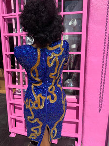 Vintage Blue & Gold Sequin Dress