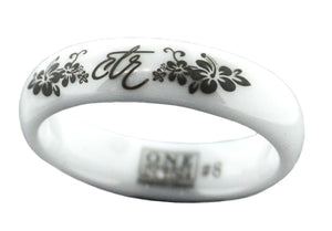 J128 Heavenly Flower White Diamond Ceramic CTR Ring
