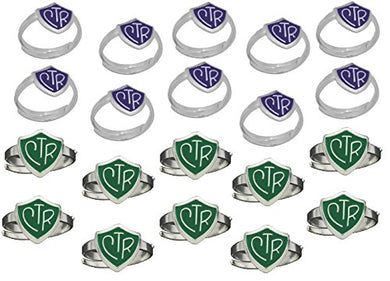 H14G - H14PR Adjustable CTR Ring 20 Pack Green and Purple One Moment in Time