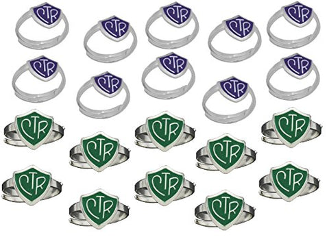 """Adjustable CTR Ring"" - 20 Pack - Green and Purple - H14G - H14PR"