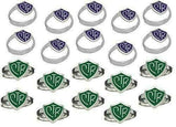 H14PR- H14G Mormon LDS Unisex Ring Adjustable 20 Pack Purple & Green One Moment In Time