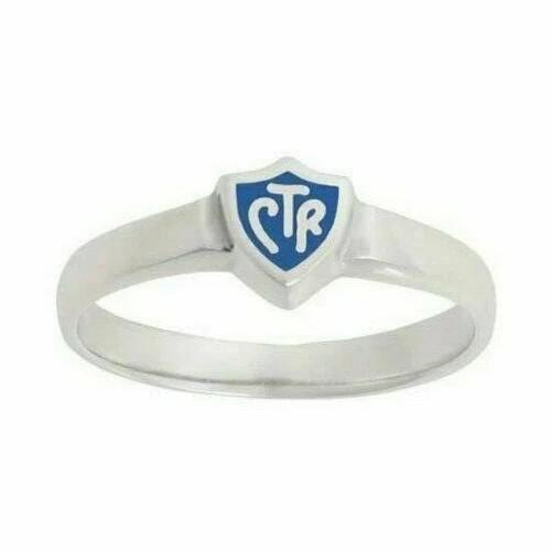 J58B Mormon LDS Unisex CTR Ring Sterling Silver Retro Blue Handmade One Moment In Time