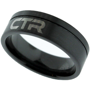 """Blackjack"" Black Ceramic with Silver Inlay Tone - CTR Ring - J180"