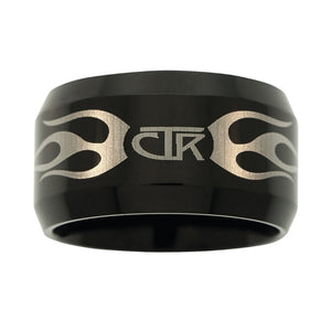 "J129 - CTR Ring Flames Black Titanium Ion Carbide ""Ignitor"""