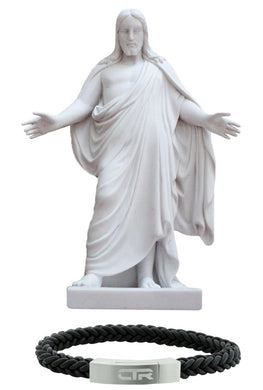 S4 10'' Cultured Marble Christus Statue with L3 Leather and Stainless Steel CTR Bracelet Magnetic Clasp Flat Surface One Moment In Time