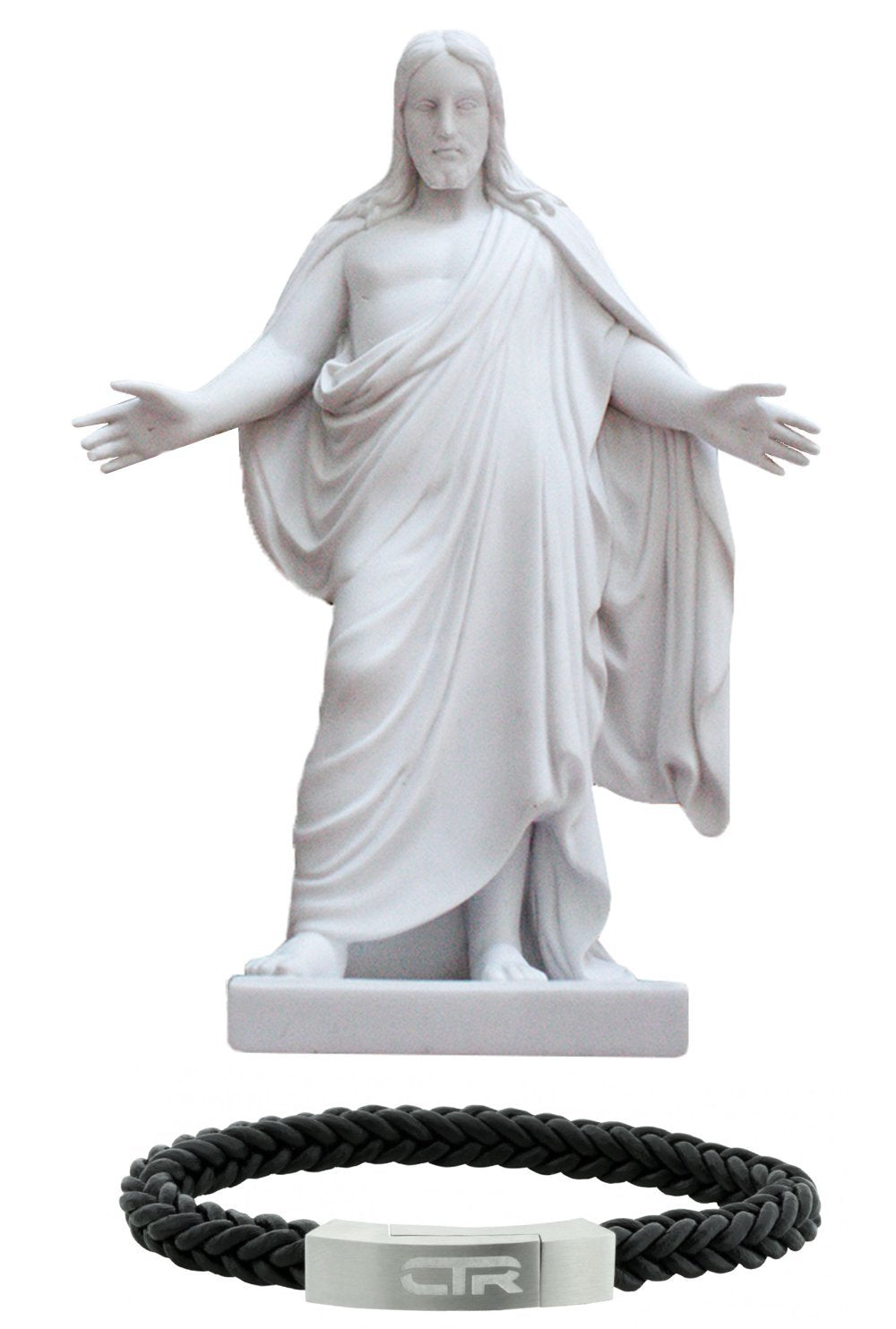 S4 - 10'' Cultured Marble Christus Statue - with L3 Leather and Stainless Steel CTR Bracelet - Magnetic Clasp - Flat Surface - One Moment In Time - Combination