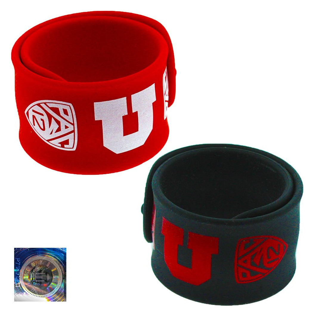 U of U Slap Bracelets 2 Pack Red and Black Made of Silicone University of Utah Go Utes One Moment in Time