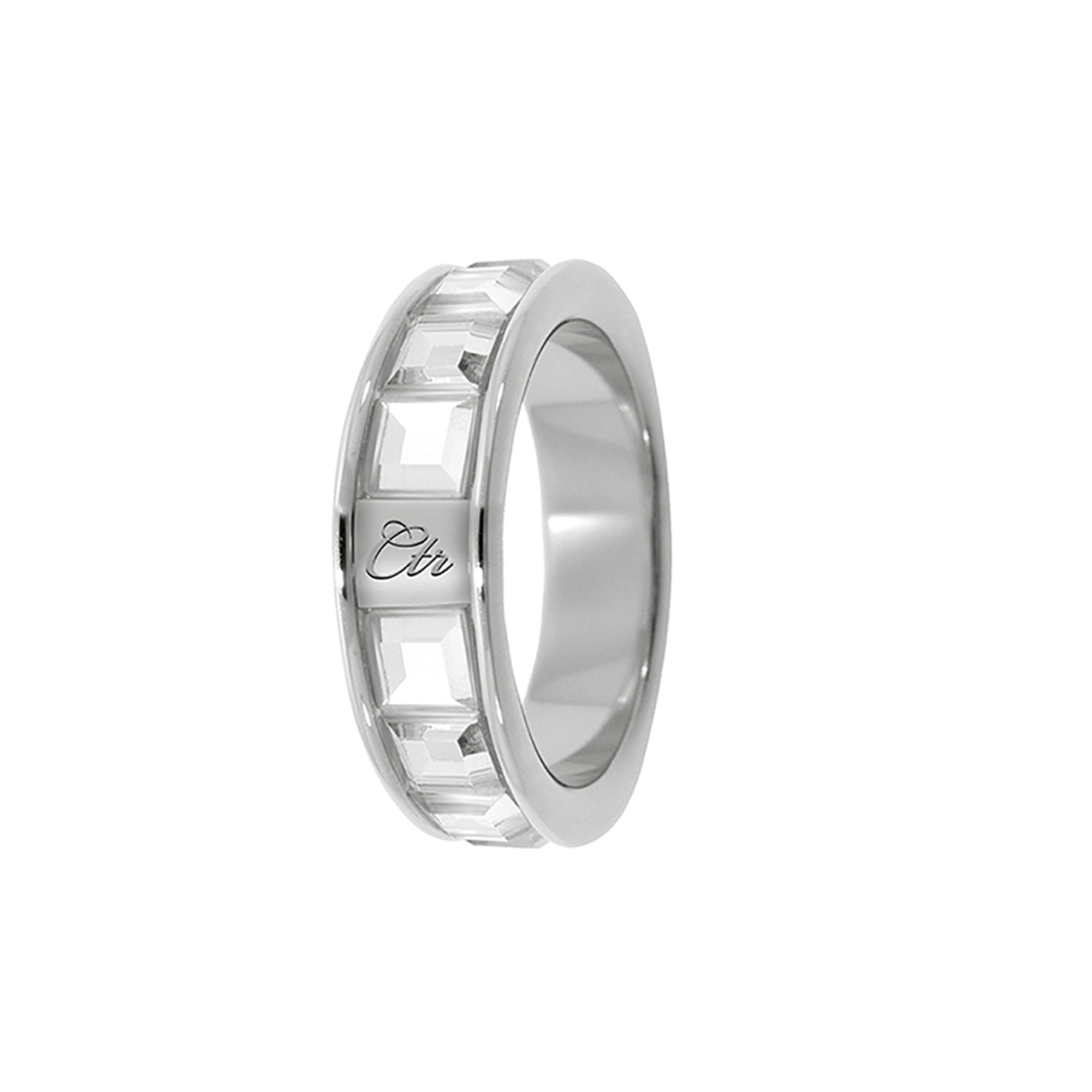 J162 CTR Ring Glimmer Stainless Steel with White CZ Stones