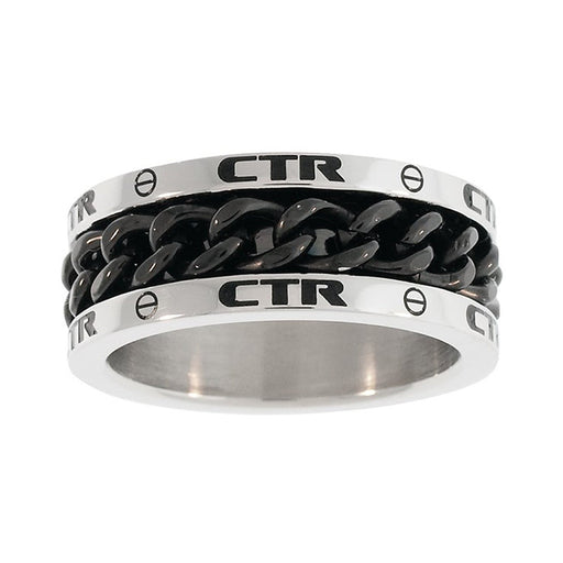 "J137- CTR Choose the Right Ring Stainless Steel w/Black chian ""Lynx"""