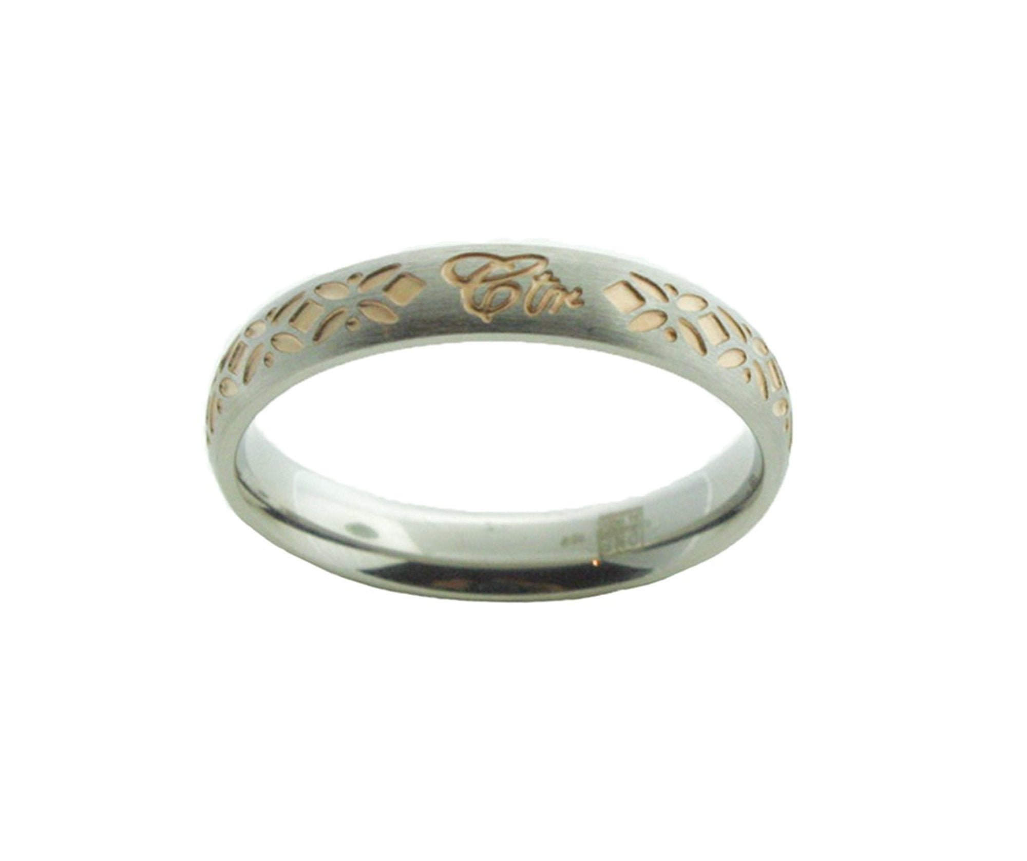 J167 Solstice Stainless Steel w/Rose Gold Tone Inlay CTR Ring