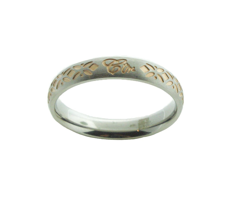 Solstice Stainless Steel wRose Gold Tone Inlay CTR Ring J167