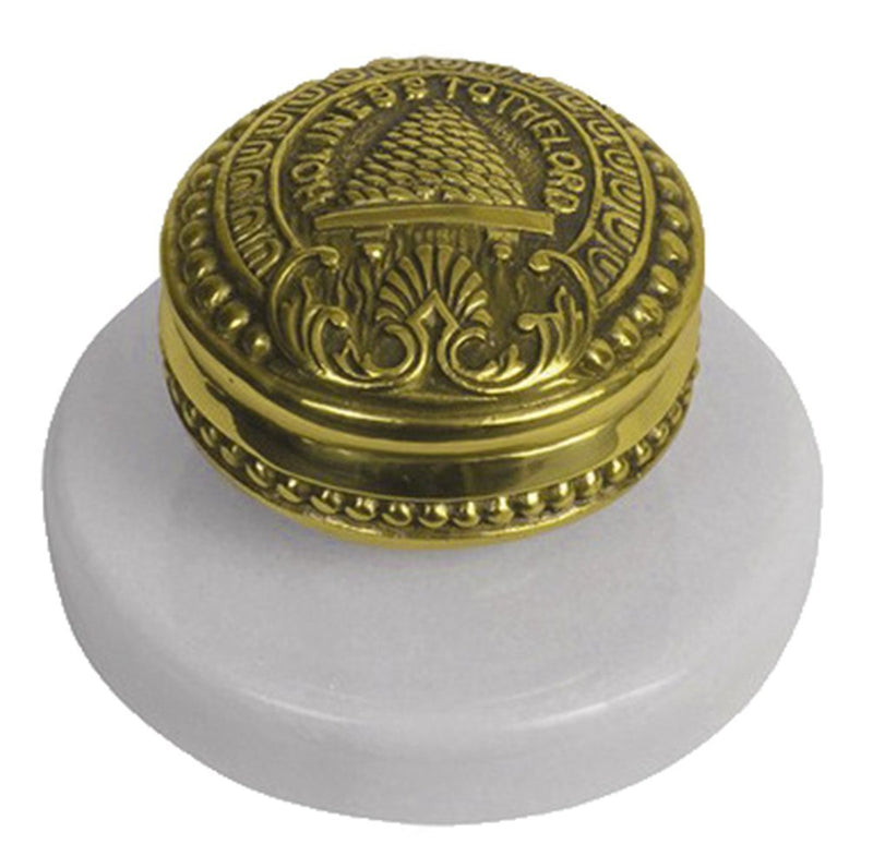 C5  SLC Temple Doorknob Paperweight Electroplated Bronze Tone w/ Marble White Base